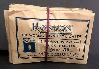 Vintage RONSON wicks (lot of 10 packs) in the original package,England (NOS)