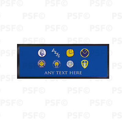 Leeds United FC Official Personalised Retro Badges Blue Bar Runner LBR013