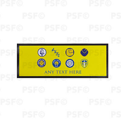 Leeds United FC Official Personalised Retro Badges Yellow Bar Runner LBR014