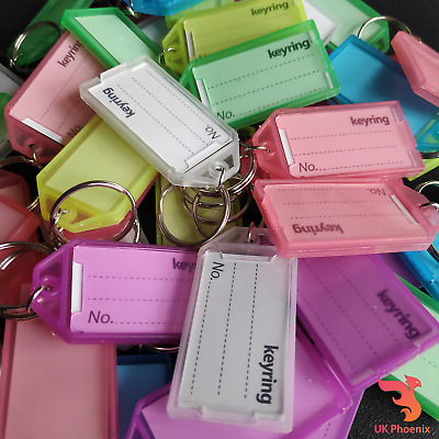 10 x Large Keyring Tag Key Fobs Assorted Colours ID Name No Card Keys Ring Label