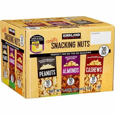 30 Pack Snacking Nuts Almonds Cashews Peanuts Roasted Salty Bag Pack Lunch