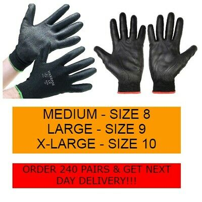 6, 12, 24 Warrior Work Gloves Black Pu Palm Coated Gloves Construction Building