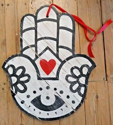 HANDPAINTED FOLK ART WOODEN SIGN - Heart HandMade OOAK Wood Carved Pub Club Cafe