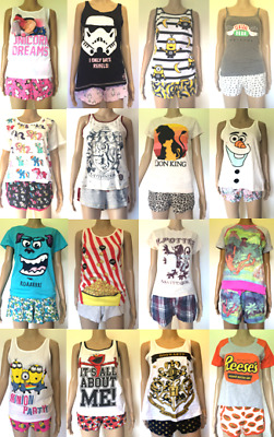 Women's Shorts & Cami Pyjamas Set Pixar Disney Mulan Lion King Primark Pjs