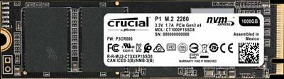 NEW Crucial P1 1TB SSD PCIe NVMe M.2 2280 3D NAND CT1000P1SSD8 Solid State Drive