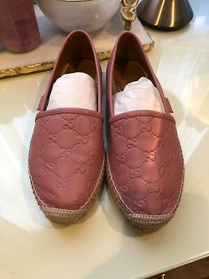 a2054c2fe0c GUCCI SOFT ROSE Pink Leather Slide with Gold Label Plate size 8 ...
