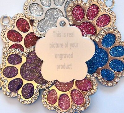 Personalised Engraved Glitter Paw Print Tag Dog Cat Pet ID Tags Reflective UK
