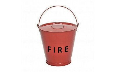 Traditional red metal fire bucket