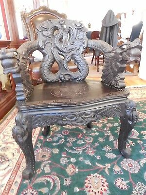 19th Century Hand Carved CHINESE 'DRAGON' CHAIR