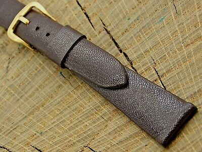 NOS Kreisler Unused Vintage Brown Leather Watch Band w Gold Tone Buckle 17.5mm
