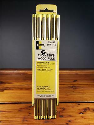 New Old Stock STANLEY ENGINEER'S 6FT Folding WOOD RULER rule #35-116 USA
