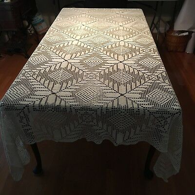 Vtg Crochet Hand Made Cotton Ivory Beige Tablecloth 66x78 Geometric