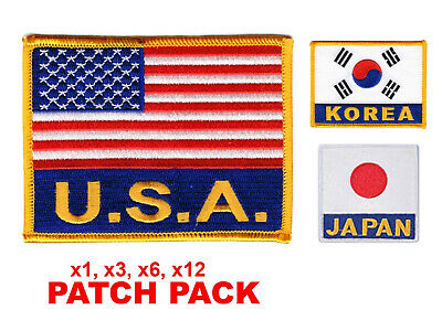 """Flag Patch Pack USA KOREA Embroidered Patch Iron-on Sew 4"""" x 3"""" Martial Arts"""