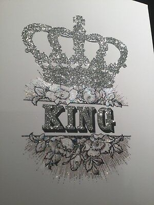 Glitter Crown King picture A4 print only NO FRAME glitter And  diamante