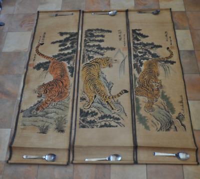 3 ancient Chinese paintings on papyrus paper