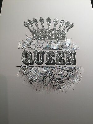 Glitter Crown Queen  picture A4 print only NO FRAME glitter And  diamante