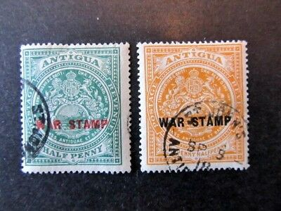 ANTIGUA, SC# MR2 & MR3, ARMS of ANQUILLA, WAR OVERPRINTS (1917)