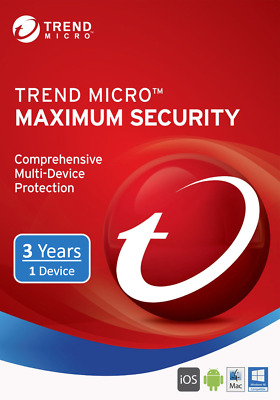 Trend Micro Maximum Security 1 PC/Device User 3 Years 2019 New Version