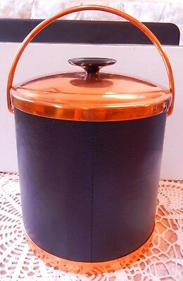 Vintage Coppercraft Guild Black Faux Leather & Copper Ice Bucket Made in USA