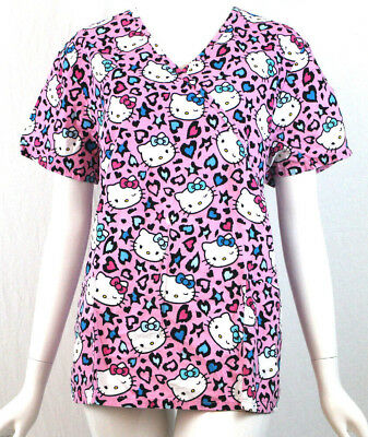 7ed0789e3 Scrub Star Womens Scrubs Top Size Large Hello Kitty Pink Uniform Nurse  Hospital