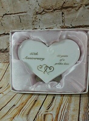 b81f3ad82d Russ White Lace   Promises Porcelain 50th Anniversary Message Plaque Heart  NWT
