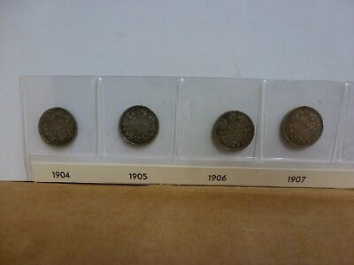 Lot of 13 Canadian 5 Cents , 92.5% Silver--1904-1920 Semi Key Dates!