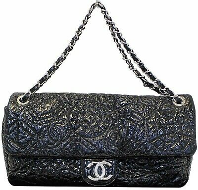 efe4f964c2553b CHANEL 2008 BLACK Quilted Distressed Calfskin Reissue 228 Bag Purse ...