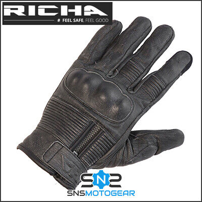 Richa Shadow Urban Retro Short Leather Motorcycle Motorbike Gloves - Grey