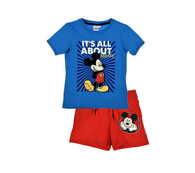 Ensemble tee shirt + short MICKEY 8 ans Bleu et rouge NEUF MICKEY MOUSE