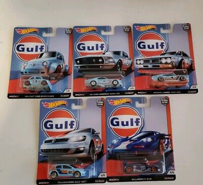 HOT WHEELS CAR CULTURE GULF RACING SET (5) McClaren Nissan Volkswagen Ford Fiat