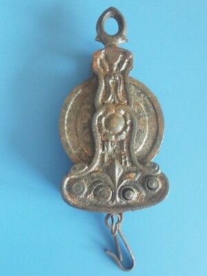 "Rare Antique Ornate Cast Iron Retractable Chain Made in France 5.5""L Chain 16""L"