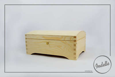 Pirate Treasure Chest 30x20x12.5cm Wooden Storage Box With Lock Round Top Pla...