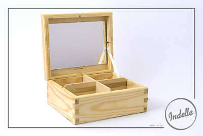 Wooden Storage Box With 4 Compartments And Mirror Plain Storage Box Craft Dec...
