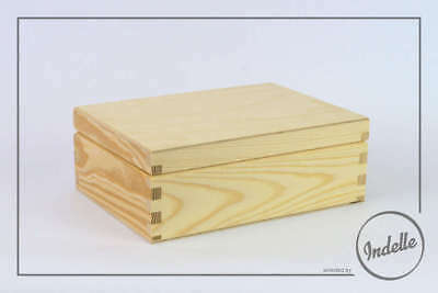 Wooden Storage Box 22x16.5x8cm 6 Compartments And Mirror Plain Storage Box Cr...