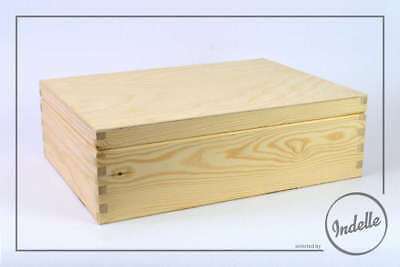 Wooden Storage Box 29.5x22x8cm 12 Compartments And Mirror Plain Storage Box C...