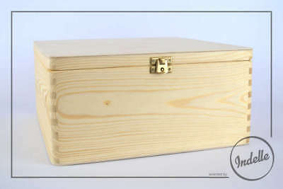 Square Wooden Storage Box With Brass Latch Plain Storage Box Craft Decoupage