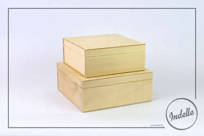 Square Wooden Storage Boxes Different Size - 2 Pack Plain Storage Box Craft D...