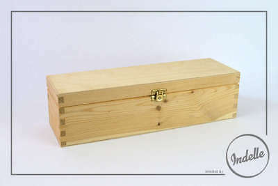 Wine Bottle Sized Wooden Storage Box 36x11x10cm Plain Storage Box Craft Decou...