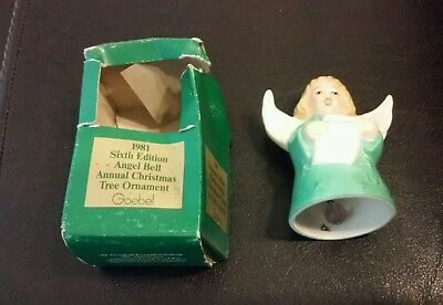 Used 1981 6th Edition Annual Christmas Tree Ornament Angel Bell Goebel Green
