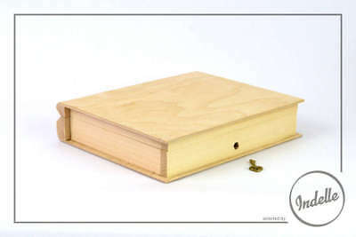 Book Shaped Wooden Storage Box With Lock 21x17x4.5cm Plain Storage Box Craft ...