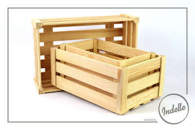 Wooden Crates Different Size - 3 Pack Plain Storage Box Craft Decoupage