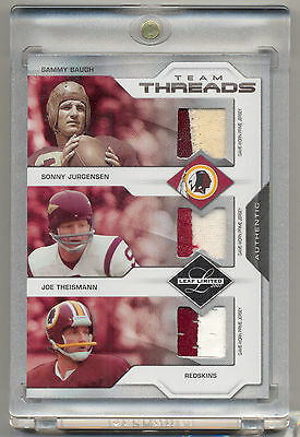 2007 Leaf Limited Baugh Jurgensen & Theismann Game Used Jersey LOGO PATCH SP /25