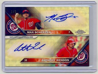 2016 Topps Chrome MAX SCHERZER ANTHONY RENDON Dual Auto SUPERFRACTOR 1/1 aMaZiNg