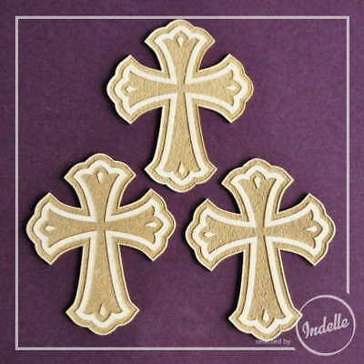 Cross Christening First Communion Cut-out Chipboard Shapes - 3 Pack Cardmakin...