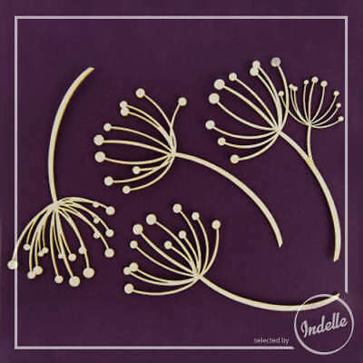 Dandelions Cut-out Chipboard Shapes 4 Pack Cardmaking Scrapbooking Craft