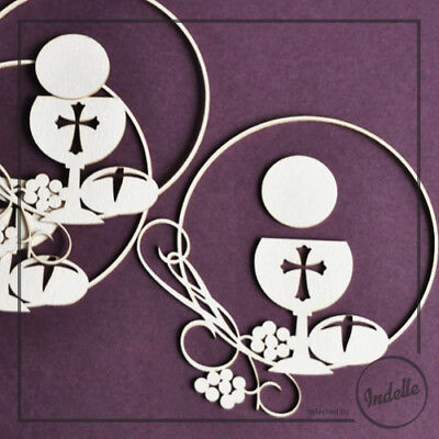 Chalice & Host First Communion Ornaments Cut-out Chipboard Shapes 3 Pack Card...
