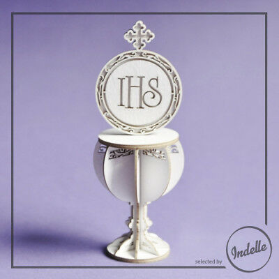 3D Chalice & Host First Communion Ornament Cut-out Chipboard Shape Cardmaking...