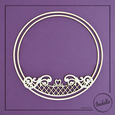 Round Frame with Heart and Swirls Chipboard Shape Cardmaking Scrapbooking Craft