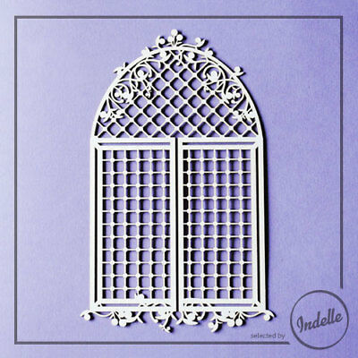 Arch Window with Lattice Chipboard Shape Cardmaking Scrapbooking Craft