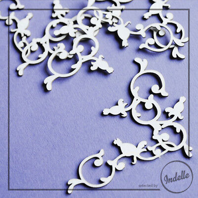 Wild Rose Corner Ornaments Cut-out Chipboard Shapes 4 Pack Cardmaking Scrapbo...
